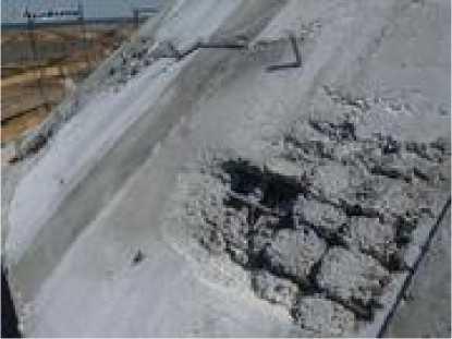 Пустоты в бетонной конструкции, оголение арматурного каркаса