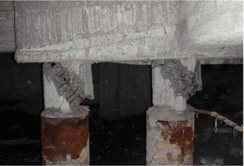 Разрушение опорных частей столбчатого монолитного фундамента