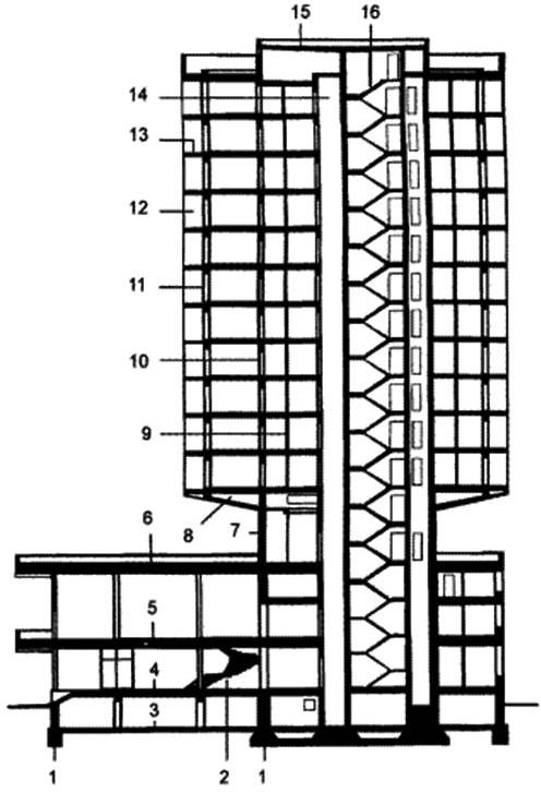 Строительные конструкции многоэтажного здания