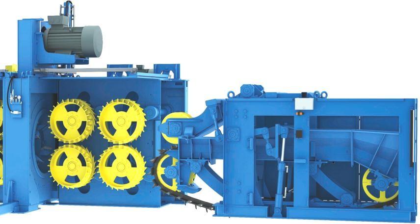 VK8000HD-Combi-3R Оснащение двумя двухвальцовыми секциями механизма подачи перед ротором