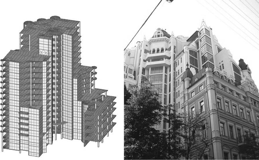 Расчетная схема и реализованный проект здания