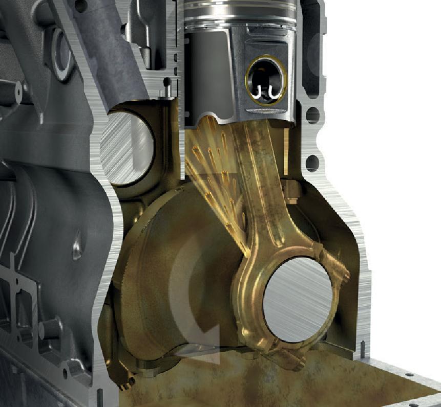 Имеющиеся в шатуне отверстия для разбрызгивания масла обеспечивают надежное смазывание pабочей поверхности цилиндра