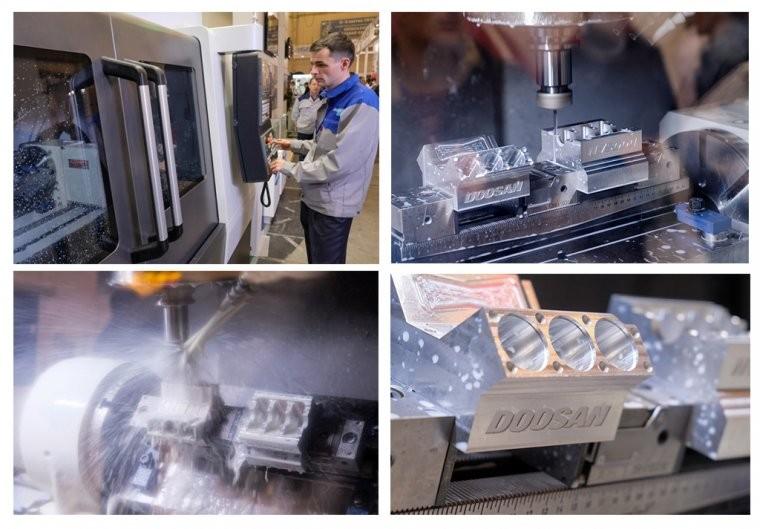 """изготавление детали """"Блок цилиндров V6"""" на DOOSAN модели DNM 5700"""