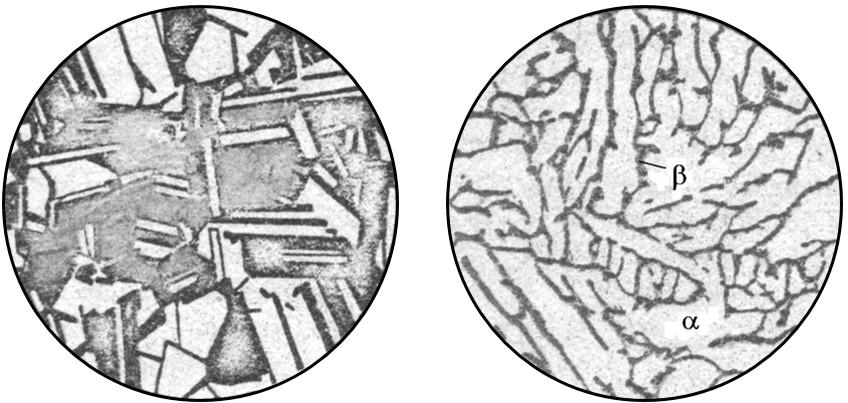 Микроструктура отожженной α-латуни и литой (α+β)-латуни