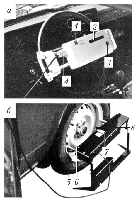 Основной блок и датчик момента трогания колеса электронного люфтомера ИСЛ‑401