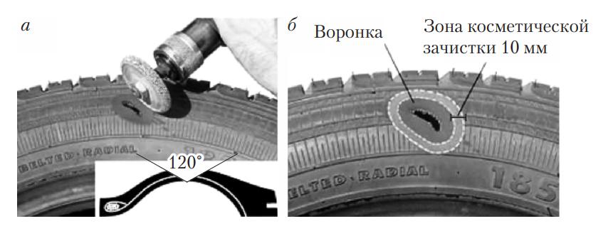 Подготовка шины к наложению пластыря