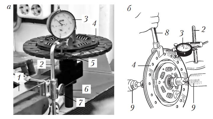 Проверка биения и правка ведомого диска
