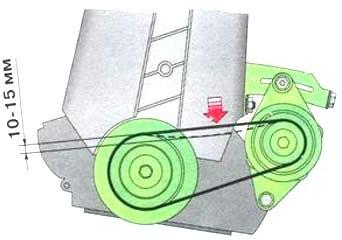 Проверка натяжного ремня привода генератора