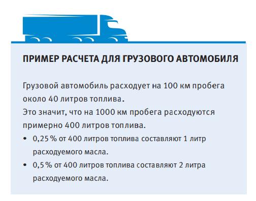 расчет расхода моторного масла для грузового автомобиля