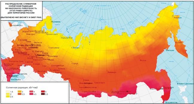 Распределение суммарной солнечной радиации на наклонную поверхность для территории России