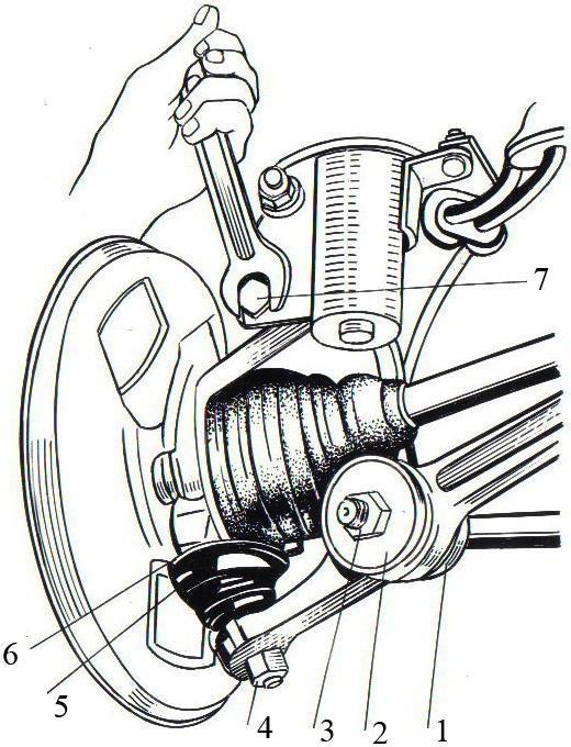 Регулировка развала передних колес и закрепление шарнира стойки