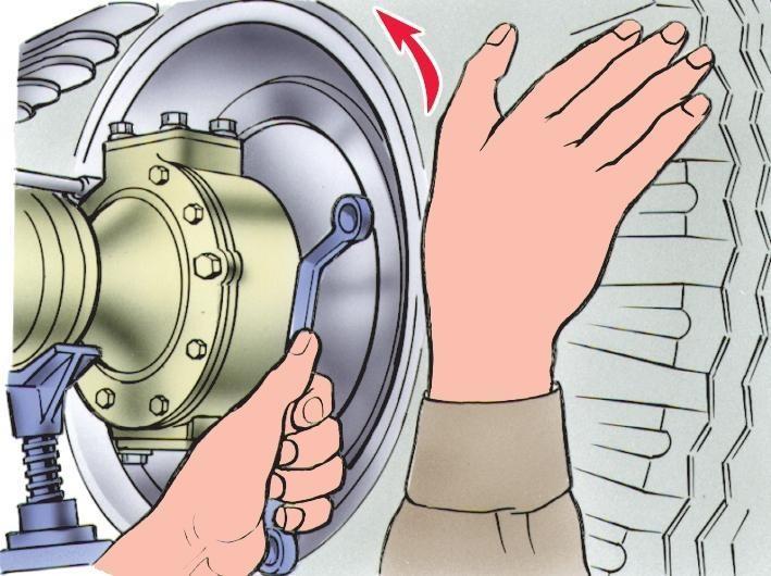 Регулировка зазоров между колодками и тормозным барабаном переднего колеса