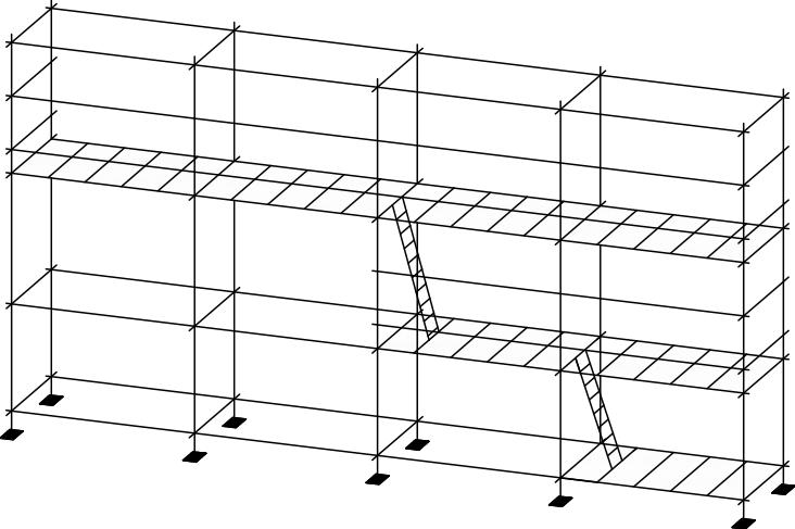 схема лесов хомутовых строительных приставных ЛСПХ-40