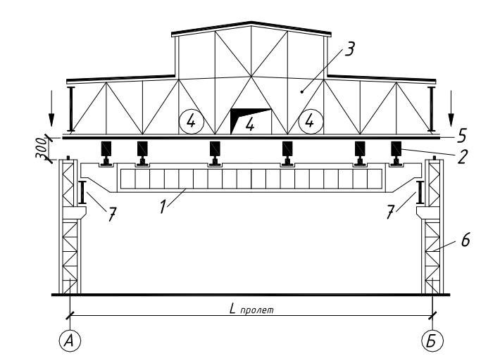 Схема монтажа блоков покрытия промышленного здания с использованием низкого установщика
