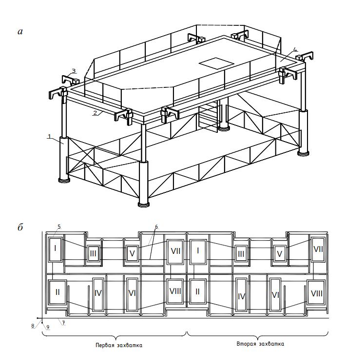 Схема монтажа панельного здания с применением групповой монтажной оснастки «Индикатор 12-16»
