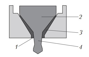 Схема образования твердых отложений лака на стенках форсунки