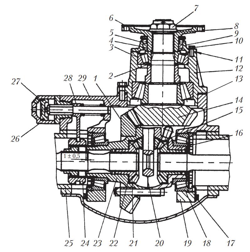 Схема редуктора заднего моста грузового автомобиля МАЗ