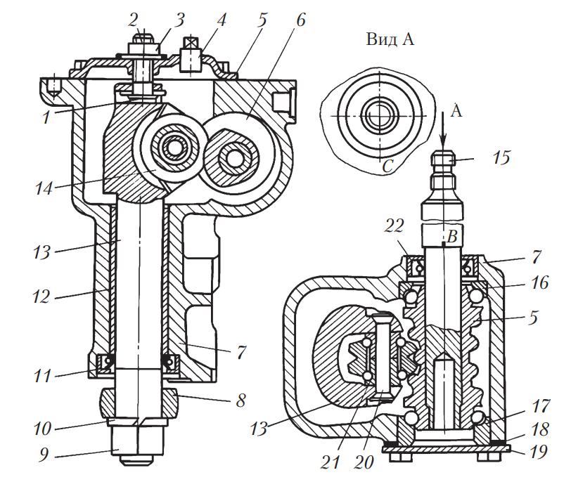 Схема рулевого механизма типа червяк-ролик