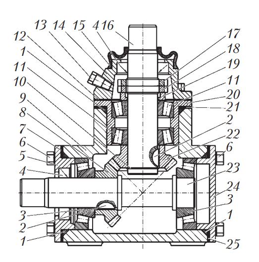 Схема углового редуктора рулевого управления автобуса МАЗ