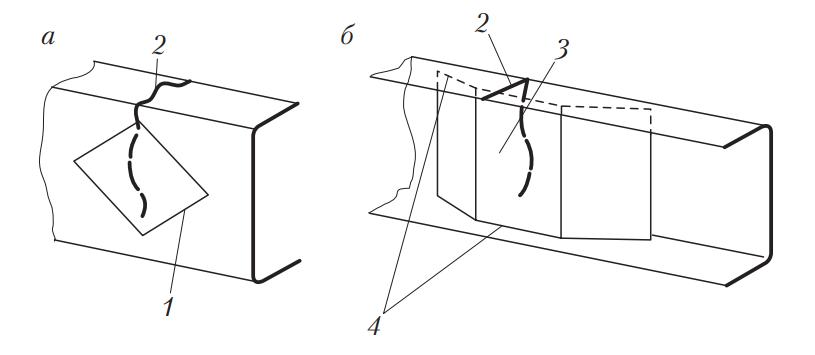 Схема усиления трещины лонжерона