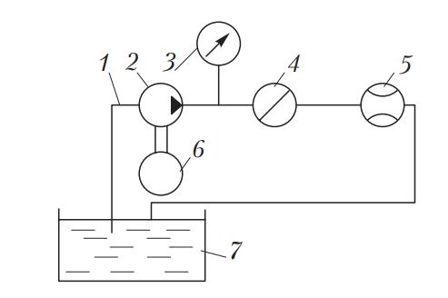 Схема установки для испытания масляных насосов