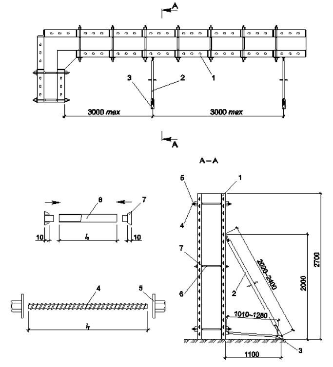 Схема установки винтового тяжа с защитной трубкой
