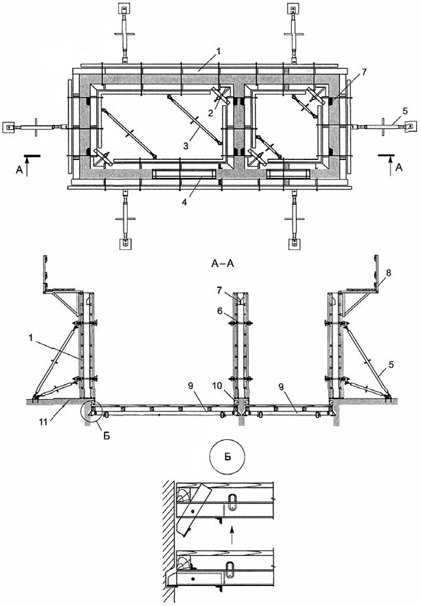 Схема устройства опалубки монолитных лифтовых шахт