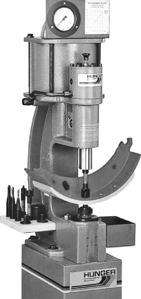Стенд для клепки и расклепки накладок тормозных колодок HUNGER