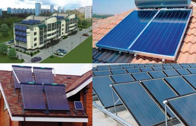 Тепловые солнечные коллекторы, установленные на крышах и стенах индивидуальных и коммерческих сооружений
