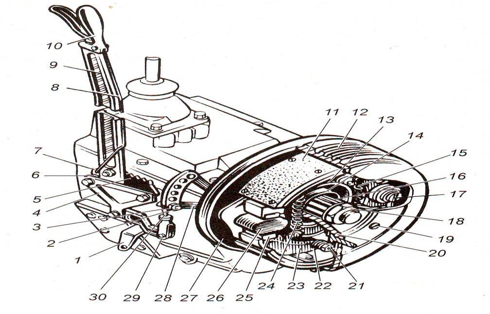 Трансмиссионный стояночный тормозной механизм