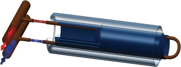 U образная трубка прямого нагрева с цилиндрическим абсорбером