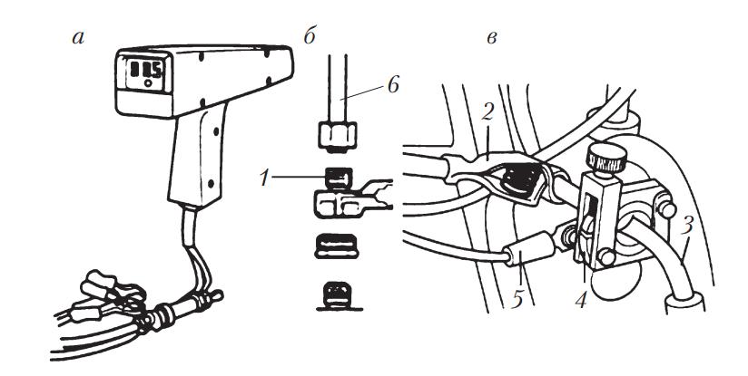 Внешний вид стробоскопа и методы получения импульсов от датчика давления и индуктивного импульсного датчика