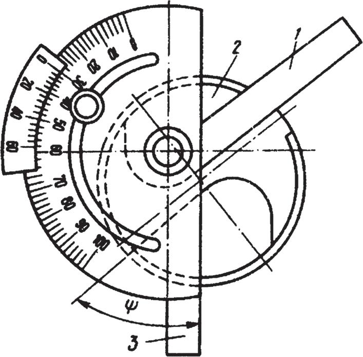 Измерение угла при вершине сверла угломером