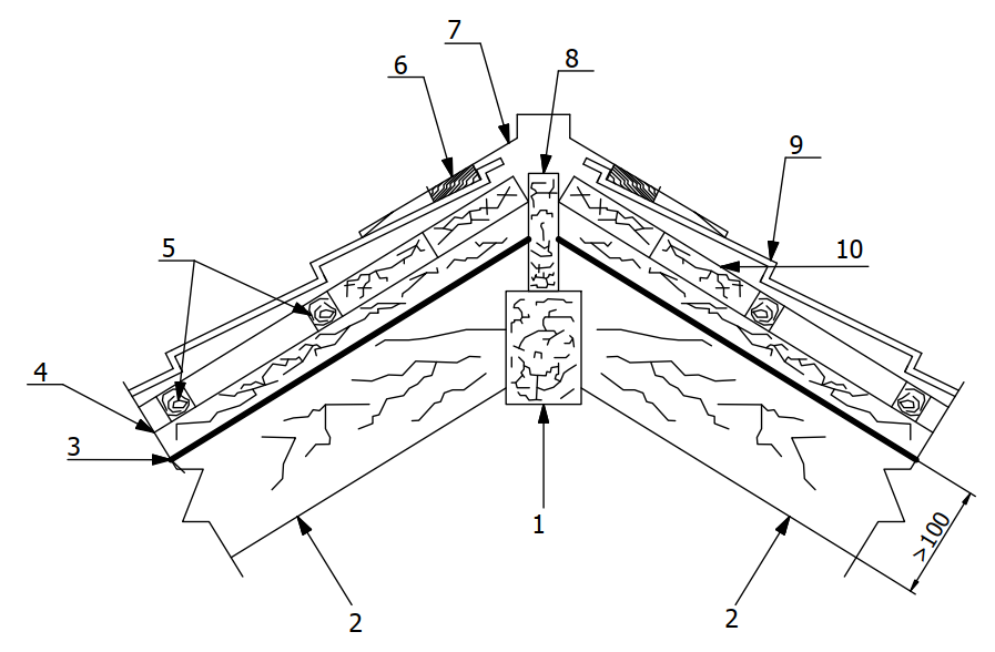 Конструктивное решение конькового элемента