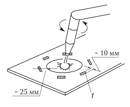 Места нанесения маркировки термочувствительным карандашом