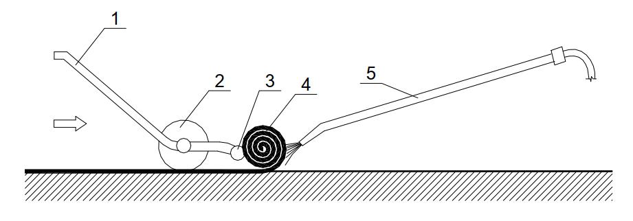 Наклейка наплавляемых рулонных материалов безогневым способом с помощью катка-раскатчика ИР-830 и удочки