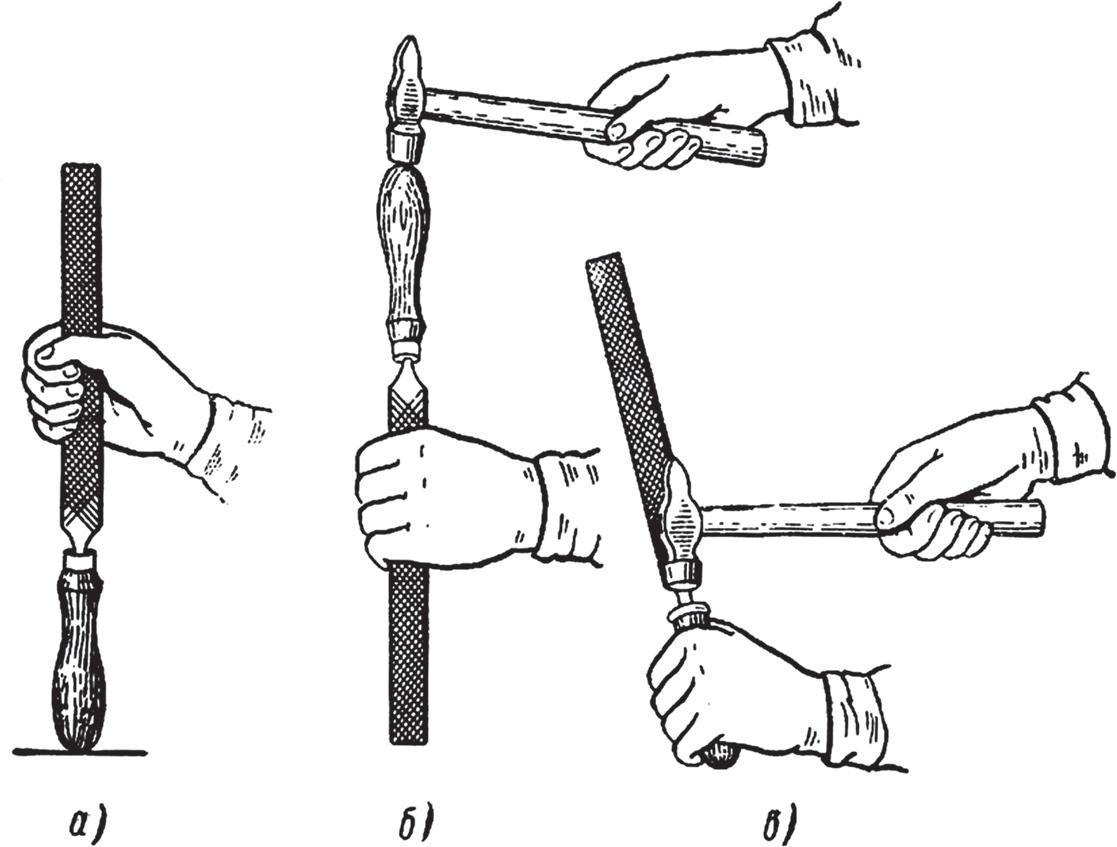 Насаживание и снятие ручки напильника