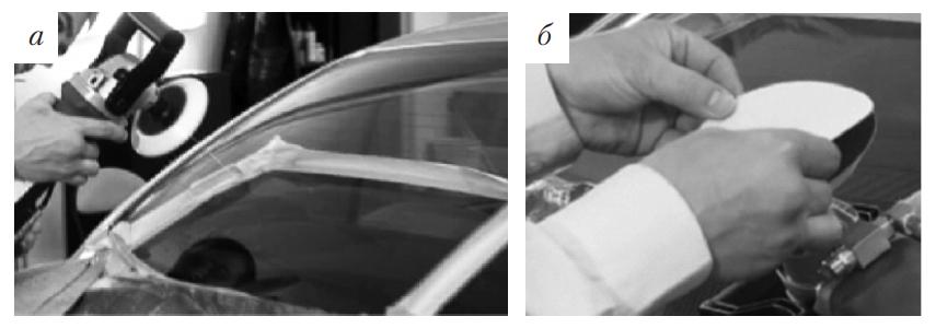 Ограничение обрабатываемой поверхности с направлением потока воды и наклеивание шлифовального круга