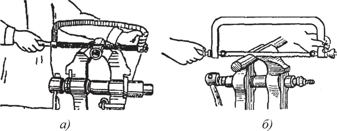 Положение рук на рамке при резке ножовкой