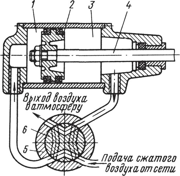 Схема работы распределителя - крана с плоским золотником для воздуха