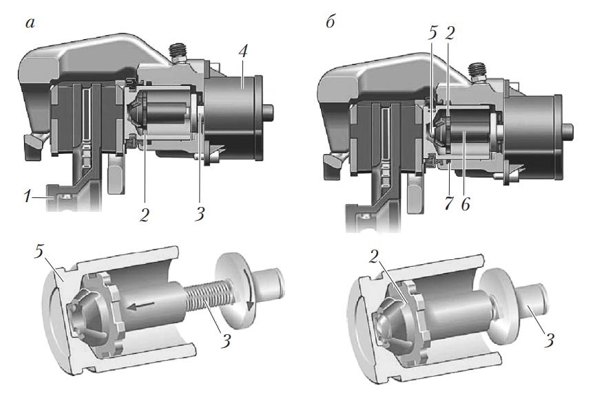 Схема работы стояночного тормозного механизма с электроприводом