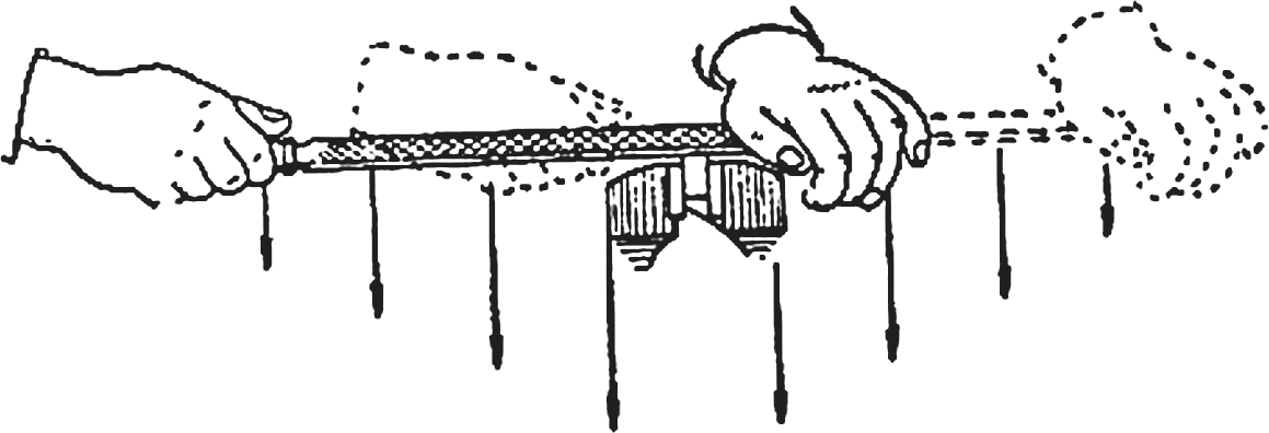 Схема распределения усилий нажима рук при опиливании
