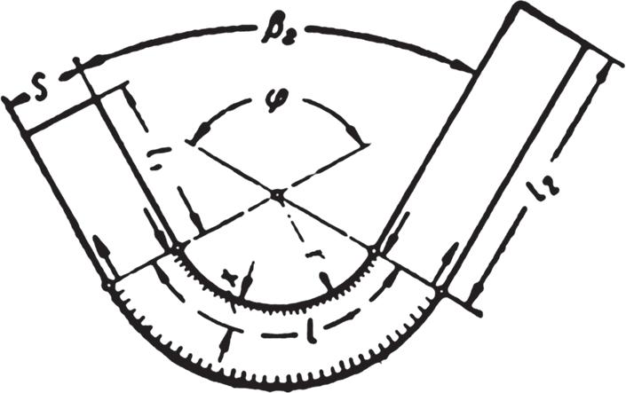 Схема составляющих длины согнутой полосы