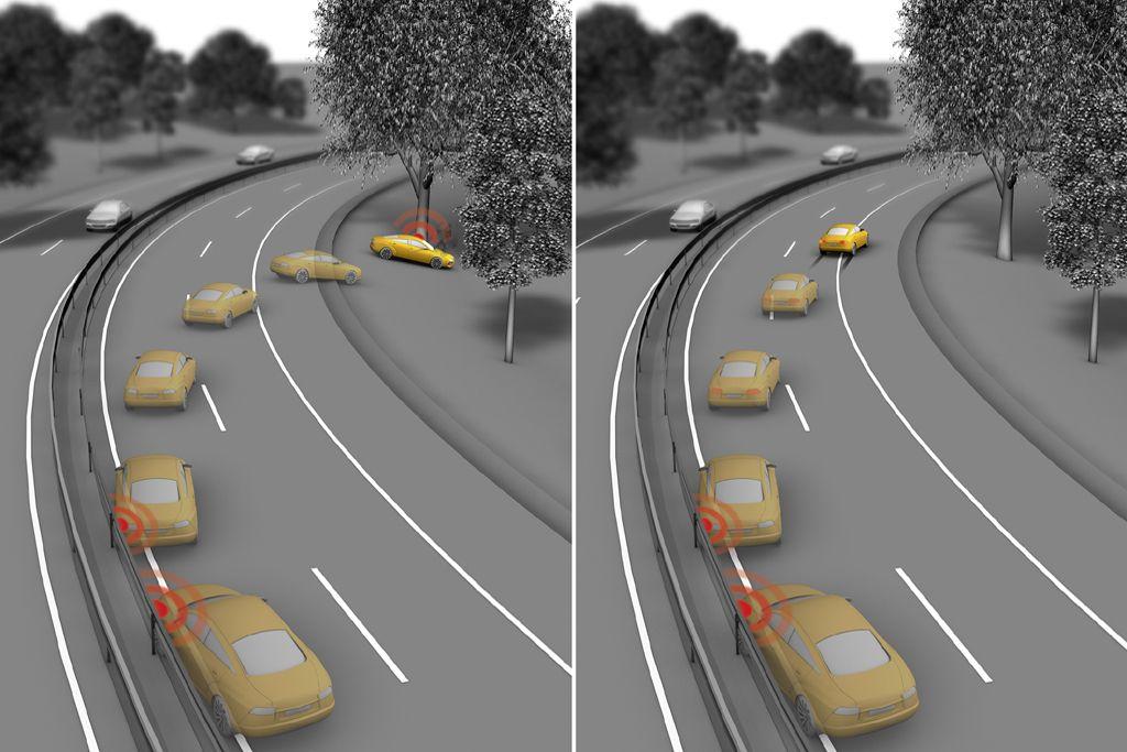 система автоматического торможения автомобиля после столкновения