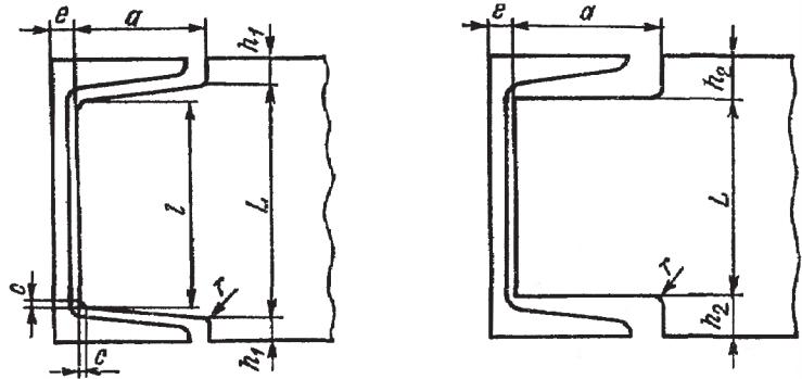 Размеры элементов деталей, примыкающих к швеллерам