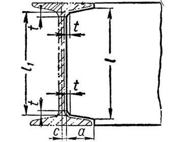 Размеры элементов деталей, примыкающих к двутавру