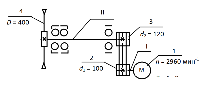 Кинематическая схема механизма главного движения круглопильного станка