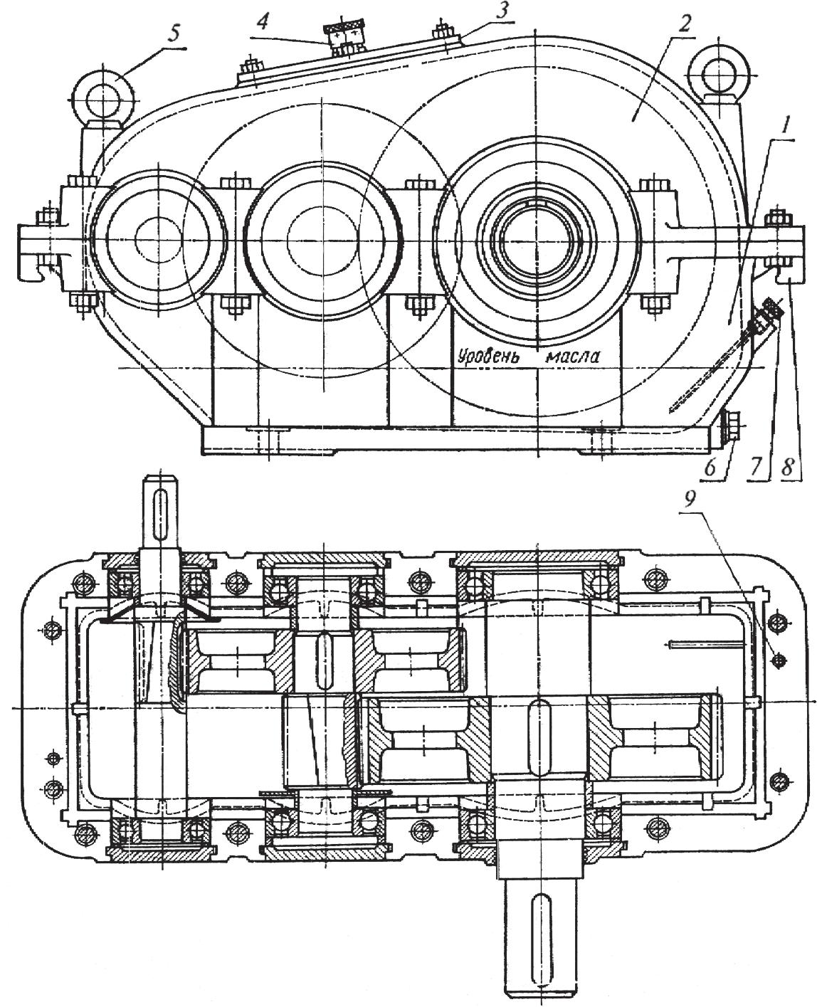 Компоновка двухступенчатого редуктора