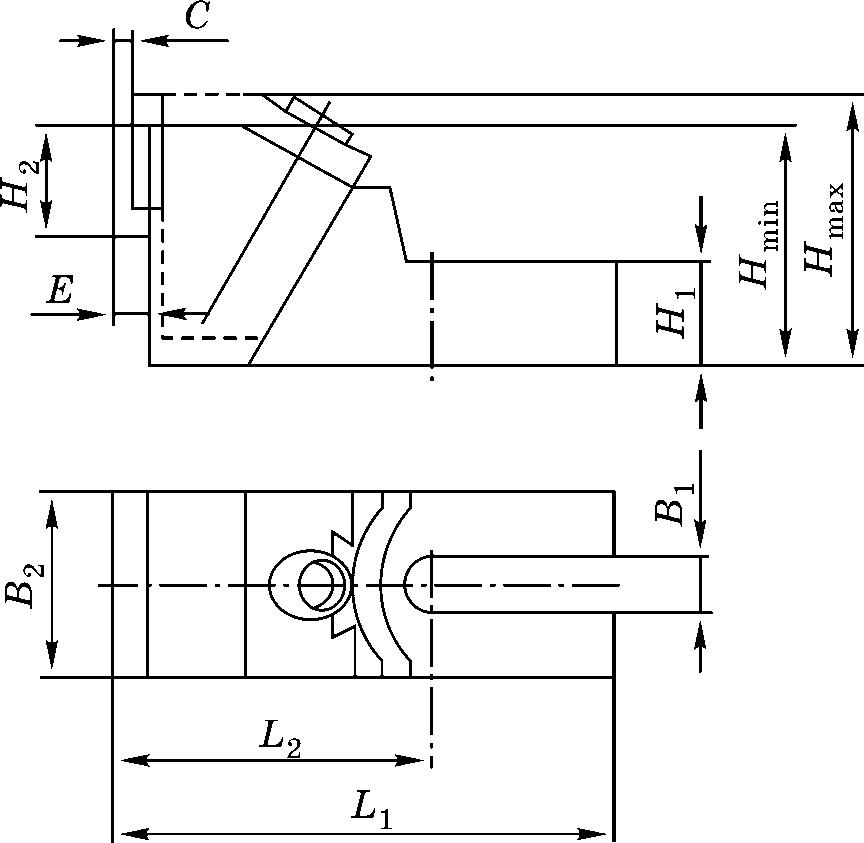 Конструктивная схема бокового зажима для деталей высотой 85–145 мм