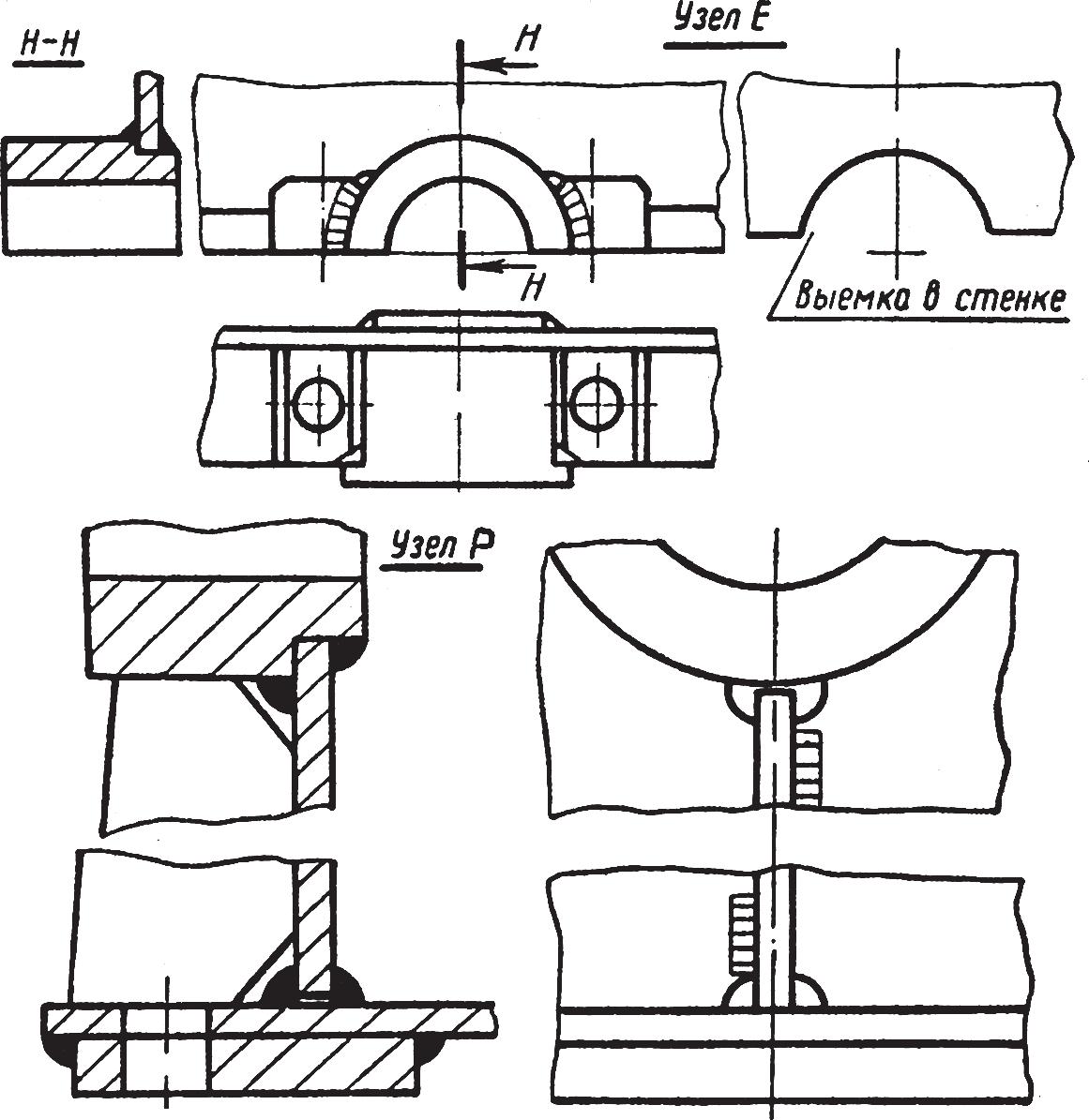 Конструктивные элементы для сопряжения стенок, фланца и бобышки
